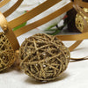 "6 Pack | 3"" Gold Glittered Handmade Twig Wicker Balls"