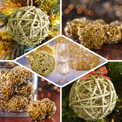 "Pack of 6 | 3"" Gold Glittered Handmade Twig Wicker Balls"