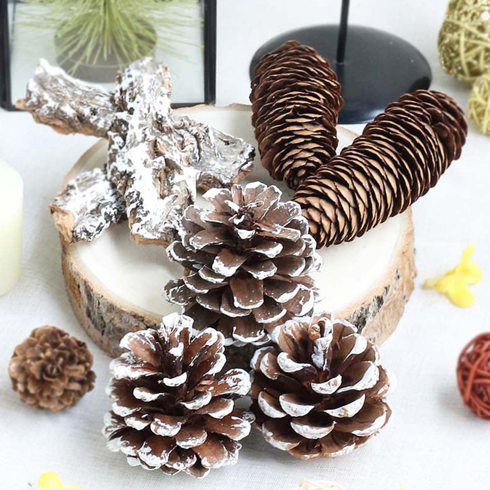 Christmas Pine Cone Vase filler decorations with LED lights New!