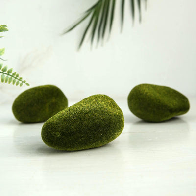 "6 Pack | Artificial Preserved Moss Rocks | Moss Vase Fillers | Moss Stones Faux  |  - 4.5"" x 3.5"""