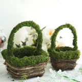 "Set of 2 | Rustic Twig Moss Planter Box Flower Basket - 8"" & 6"""