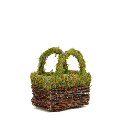 "Set of 2 | Rustic Twig Preserved Moss Wedding Purse Planter Box - 8"" & 7"""