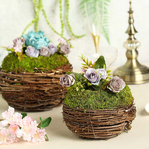 "Set of 2 | Natural Twig Round Preserved Moss Planter Box – 8"" & 6"""
