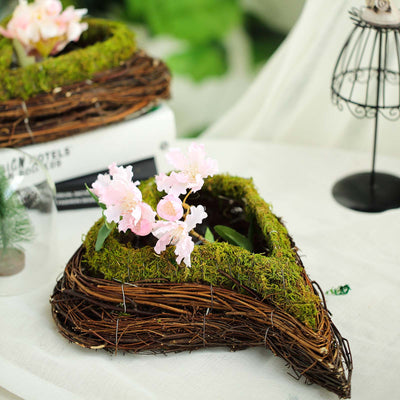 "Set of 2 | Natural Twig Green Heart Preserved Moss Planter Box - 14"" & 11"""