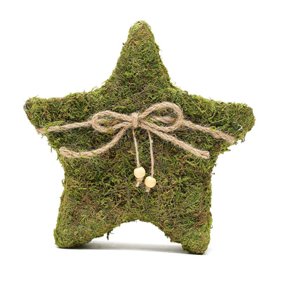 Set of 2 | Preserved Moss Star Planter Box with Natural Braided Twine Bow