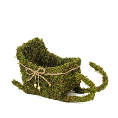"Preserved Moss Sleigh Planter Box with Rustic Braided Twine Bow - 20"" & 15"""