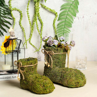 "Set of 2 | Preserved Moss Boot Planter Box with Natural Braided Twine Bow - 6"" & 8"""
