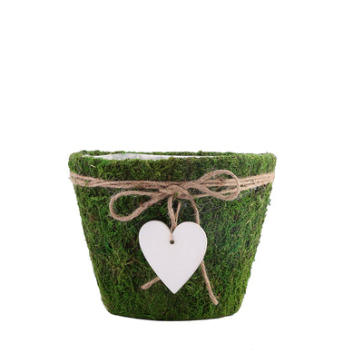 Set of 3 | Round Preserved Moss Planter Box | Moss covered Planters with Inner Lining | Twine and Hanging Heart Included - 4"