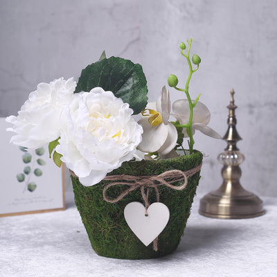 Set of 3 | Round Preserved Moss Planter Pots with Inner Lining | Twine and Hanging Heart Included | 4"