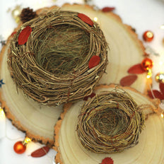 Set of 2 - Natural Twig Bird Nest, Home Made Rattan Planters