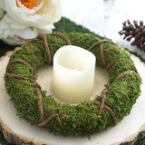 "2 Pack | 10"" Green Preserved Moss Wreaths with Natural Twig Wraps"