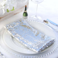 "20"" Premium Silver Sequin Napkin For Wedding Banquet Party Table Decoration"
