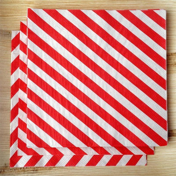"20 Pack 13"" Striped 2 Ply Paper Beverage Napkins - Red/White - Clearance SALE"