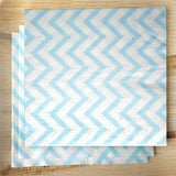 20 Pack | 13inch | Chevron 2 Ply Cocktail Paper Napkins - Blue/White