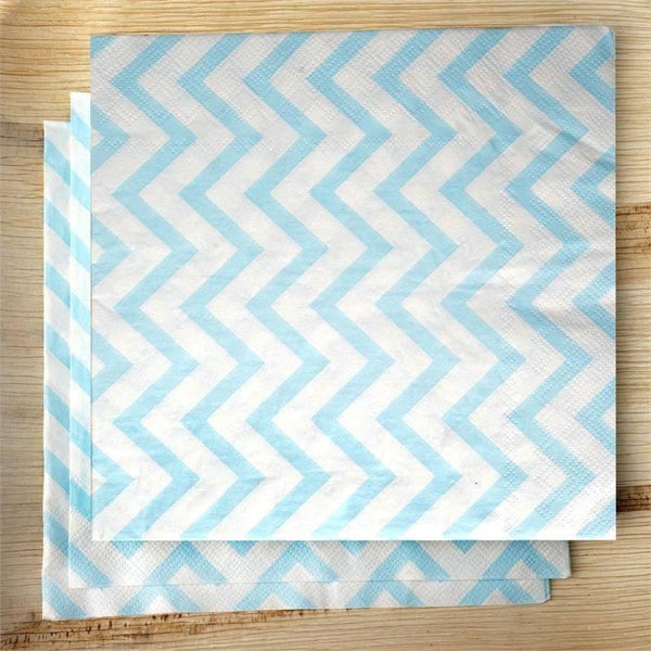 "20 Pack 13"" Chevron Printed 2 Ply Paper Beverage Napkins - Blue/White - Clearance SALE"