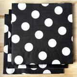 "20 Pack 13"" Big Polka Dots 2 Ply Paper Beverage Napkins - Black/White"