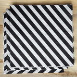Diagonal Striped Restaurant Party Beverage Paper Napkins - Black and White - 20 PCS