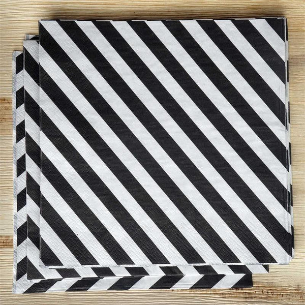 "20 Pack 13"" Striped 2 Ply Paper Beverage Napkins - Black/White - Clearance SALE"