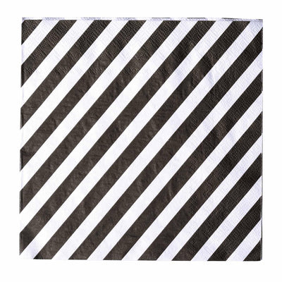 "20 Pack 13"" Striped 2 Ply Paper Beverage Napkins - Black/White"