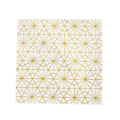20 Pack | 3 Ply Metallic Gold Geometric Design Paper Dinner Napkins | Wedding Cocktail Napkins