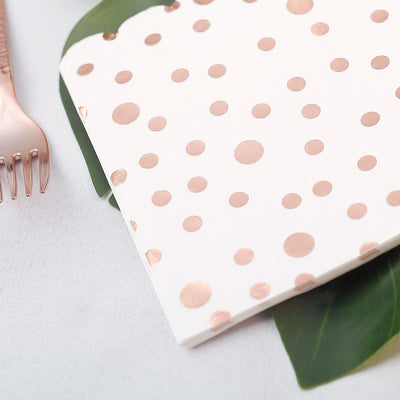 20 Pack | 3 Ply Metallic Rose Gold Dotted Paper Dinner Napkins | Wedding Cocktail Napkins