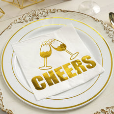 20 Pack | 3 Ply Metallic Gold Paper Dinner Napkins | Wedding Cocktail Napkins - Champagne Glass Toast with Cheers