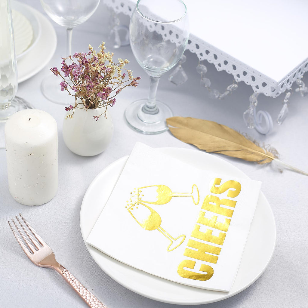 Wedding Cocktail Napkins.20 Pack 3 Ply Metallic Gold Paper Napkins Wedding Cocktail Napkins Dinner Napkins Champagne Glass Toast With Cheers