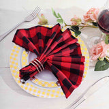 Buffalo Plaid Napkins | 5 Pack | 15x15 | Black/Red | Checkered Gingham Polyester Napkin