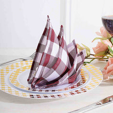 Buffalo Plaid Napkins | 5 Pack | 15x15 | Burgundy/White | Checkered Gingham Polyester Napkin