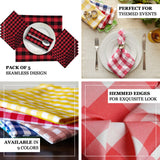"Buffalo Plaid Napkins | 5 Pack | 15""x15"" 