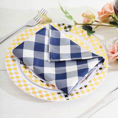 Buffalo Plaid Napkins | 5 Pack | 15x15 | Navy Blue/White | Checkered Gingham Polyester Napkin