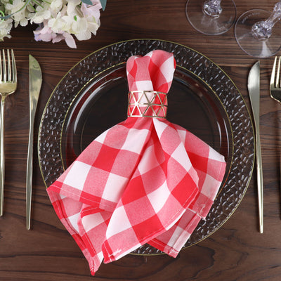 "15x15"" RED/WHITE Checkered Wholesale Gingham Polyester Linen Picnic Restaurant Dinner Napkins - 5 PCS"