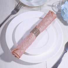 5 Pack 20x20 Dusty Rose Crinkle Crushed Taffeta Napkins
