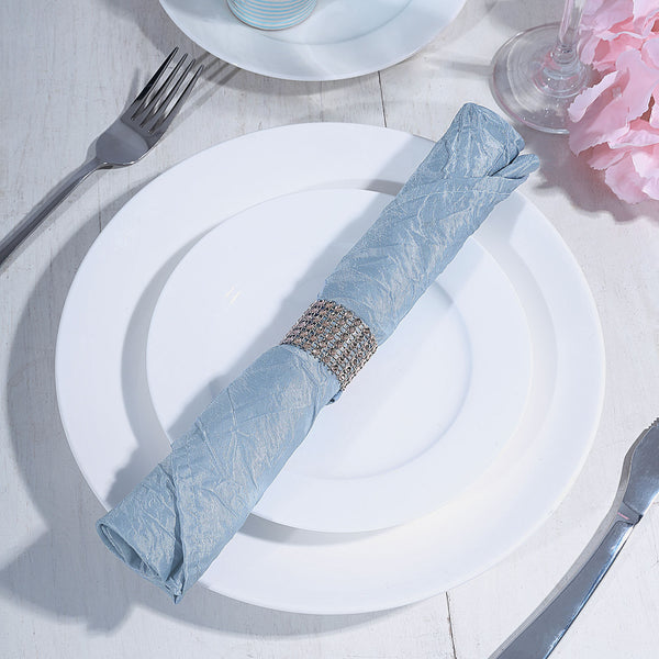 "5 Pack 20""x 20"" Dusty Blue Crinkle Crushed Taffeta Napkins"