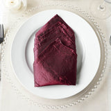 5 Pack 20x20'' Burgundy Crinkle Crushed Taffeta Napkins