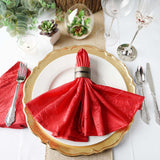 "5 Pack 20""x 20"" Red Taffeta Crinkle Napkins"