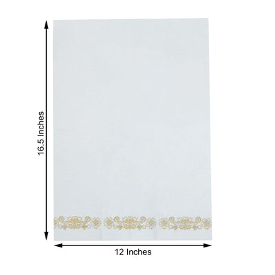 20 Pack Gold Foil Disposable White Airlaid Paper Dinner Napkins | Soft Linen-Feel Hand Towels - Floral Scroll