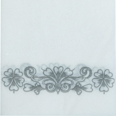 20 Pack Silver Foil Disposable White Airlaid Paper Dinner Napkins | Soft Linen-Feel Hand Towels