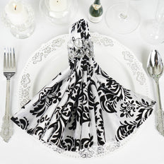 "5 Pack 20""x20'' Black/White Damask Flocking Napkins"