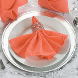 "5 Pack 17""x17"" Coral Red Polyester Linen Napkins - Clearance SALE"