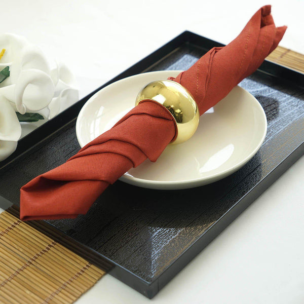 "5 Pack 17""x17"" Burnt Orange Polyester Linen Napkins"
