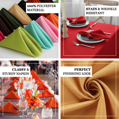 "5 Pack 17""x17"" Chocolate Polyester Linen Napkins"
