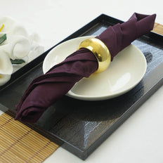 "5 Pack 17""x17"" Eggplant Polyester Linen Napkins"