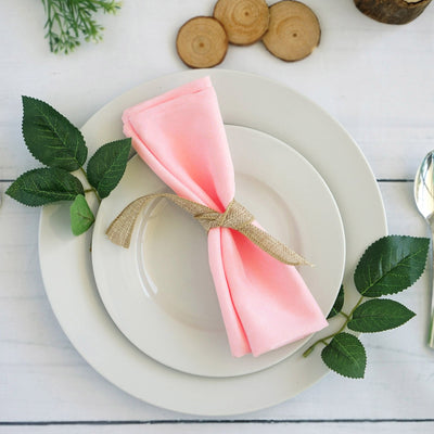 "5 Pack 20""x20"" Rose Quartz Polyester Linen Napkins - Clearance SALE"