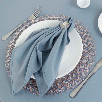 "5 Pack 20x20"" Dusty Blue Polyester Linen Napkins"