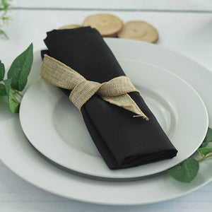"20x20"" BLACK Wholesale Polyester Linen Napkins For Wedding Birthday Party Tableware - 5 PCS"