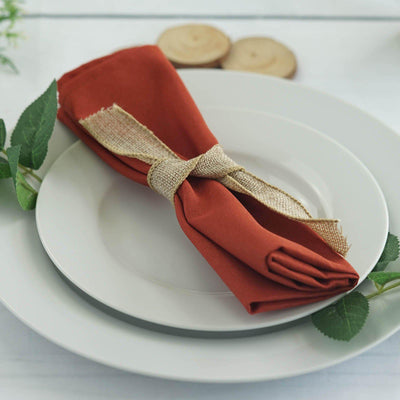 "5 Pack 20x20"" Burnt Orange Polyester Linen Napkins"