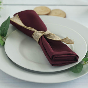 "20x20"" BURGUNDY Wholesale Polyester Linen Napkins For Wedding Birthday Party Tableware - 5 PCS"