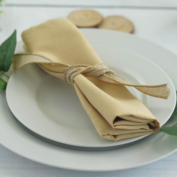 "5 Pack 20""x20"" Champagne Polyester Linen Napkins"