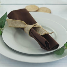 "5 Pack 20""x20"" Chocolate Polyester Linen Napkins"